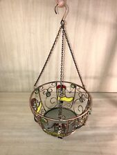 Stained Glass~Chained~Flower Pot Holder~Hanging~Porch~Cowboy Boot~Copper