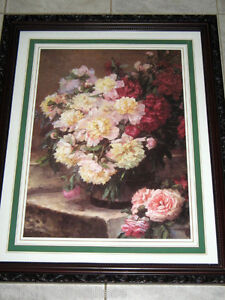 A STILL LIFE OF PEONIES IN A VASE by Marguerite Charrier-Roy Lge Framed Print