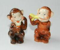 Vintage Ceramic Monkey Salt & Pepper Shakers - Made in Japan