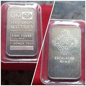 Vintage Johnson Matthey Escalante Mine - 1 Troy oz .999 Fine Silver Bar #008826