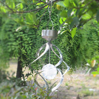 Solar Powered Wind Spinner Color Changing LED Light Wind Chimes Lamp Garden US