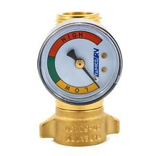 RV Camco 40064 40-50psi Brass In-line Water Pressure Regulator with Gauge