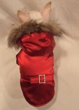 Dog Coat/Dog Jacket/Dog Clothes/Red Jewel Faux Fur Dog Coat  XS,M,L FREE SHIP