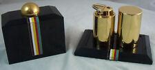 Vintage Fancy Gold Cigarette Holder & Lighter Set Enamel Stripes & Black Cover