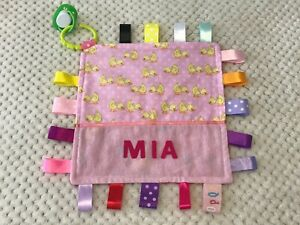 Baby Girls Personalised Security Taggie Blanket / Toy - PINK DUCKS -