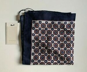 NWT Suitsupply Pocket Square Flower Pattern Burgundy 100% Linen (PS19102)