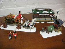 Dept 56 Lot Queen's Parliamentary Coach, Queensbridge station, & horse and buggy