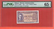 1941 British  Malaya KG VI 1 cent note . PMG 65 EPQ.