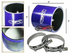 """3"""" Silicone Hose/Pipe Straight Coupler BLUE +T-Bolt Clamp For Mercury/Volvo"""
