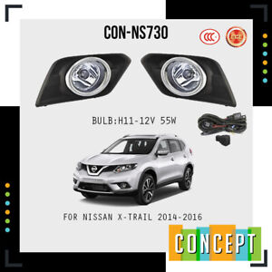 For 2014-2016 Nissan Rogue Clear Fog Lights Lamp and Assembly Set L&R Side
