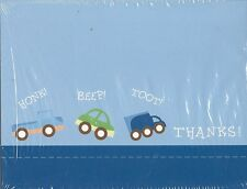 Blank Thank You Notes 20 Pack Party Cards Birthday Boy Trucks Cars Blue