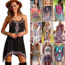 donna estate senza maniche Boho ETHIC Stampa sera festa spiaggia mini abito