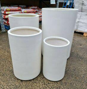 Outdoor Garden Patio Round Planter Marnus Modstone Tall Cylinder Pot White