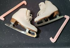 New listing Pair Riedell 112W White Figure Ice Skates, Size 10, Women', comes W/Blade Covers