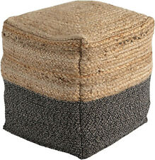 Signature Design by SHAPJW - Sweed Valley Pouf - Jute/Cotton - Natural/Black