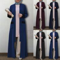 ZANZEA UK Women Long Sleeve Abaya Muslim Cardigan Coat Casual Loose Maxi Jackets