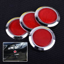 4pcs 53mm Auto Car Plastic Round Reflective Reflector Sticker Red Self Adhesive
