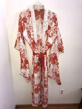 New listing Vintage Kimono Orange Yellow Flower On White Unlined Embroidered Collar