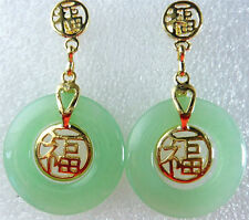 Natural Light Green Jade Yellow Gold Plated Fortune Luck Earrings