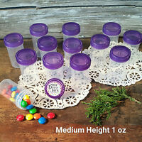 """24 Pill Jars 2+"""" tall T. Purple Cap 1 ounce Favor Size Container #3812 USA New"""