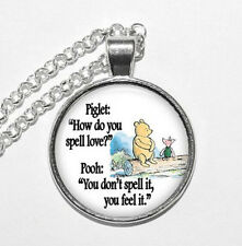 Vintage Bear Words Photo Cabochon Glass Silver Chain Pendant Necklace