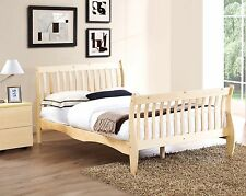Wooden Pine 4ft6 Double Bed Frame Natural Solid Wood Sleigh Bed Design
