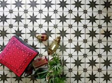 Granada Star Vintage Moroccan Encaustic Effect Black White Wall Floor Tiles