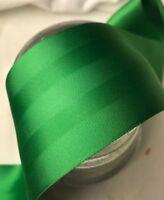 "BTY 2 1/4"" wide Green Single faced rayon trim vintage satin ribbon Matte Stripe"