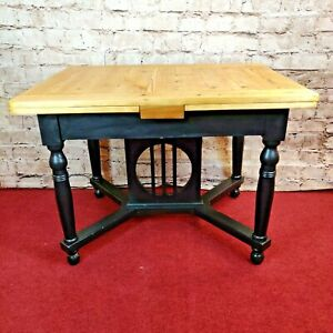 Refurbished Extending Pine Table With Black Legs (2120)  **Offer Price**