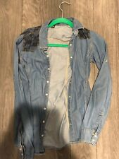 Forever 21 Denim Blouse Button Down Size Small