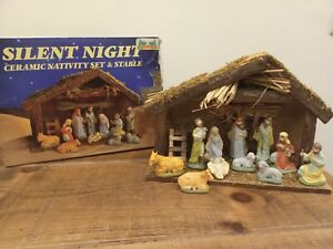 Boxed  Box Wooden Stable Nativity Ceramic Figures Christmas Scene Silent Night