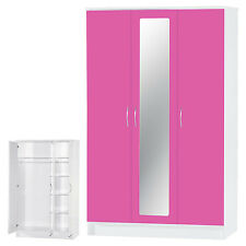Alpha Pink High Gloss & White 3 Door Mirrored Wardrobe Bedroom Furniture Unit