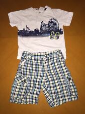 Baby Boys Toddlers DKNY Summer Outfit Blue Plaid Shorts & T-Shirt Size 18 Months