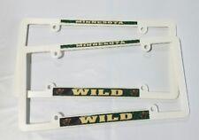 2 Minnesota Wild White EZ View License Plate Frame NEW Auto Truck FREE SHIPPING