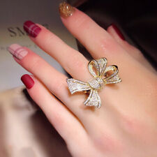 Finger Ring Wedding Party Jewelry Gift Women Elegant Cubic Zirconia Inlaid Bow
