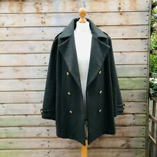 H&M Coat Military Army Khaki Green Gold Buttons Double Breasted Wool Mix Size 16