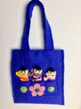 Cute Handmade Blue Felt Play Bag & 3 Little Hand Knitted Finger Puppets Fab Gift