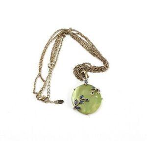 Monet Blue Rhinestone Green Enamel Multi Strand Gold Tone Pendant Necklace