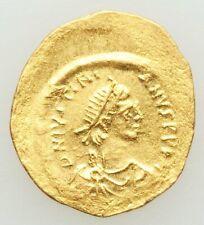 Byzantine Gold Tremissis Justinian I, AV 527-565 wavy flan, slip-strike XF-ChXF