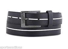 ARMOURDILLO Black White Stripe COREY DUFFEL SHARPIE Leather BELT Large 33 34 36