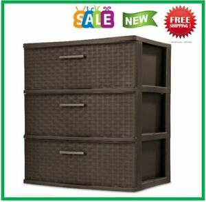 3 Drawer Wide Weave Tower Durable Plastic Indoor Home Storage Organizer Bin Box