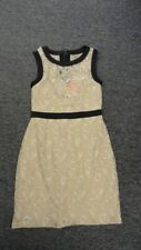 MAX AND CLEO Beige Black Nylon Blend Lined Lace Floral Print Dress Size 4 EE9141