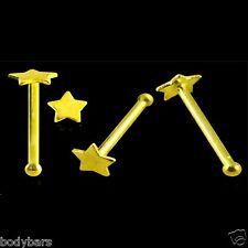 9k quilates de oro liso plana Estrella Para Nariz Hueso De Pin piercing del cuerpo 22g 6mm