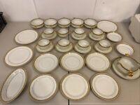 Set Vintage Haviland France Limoges Green White Gold Rim 33 Pieces