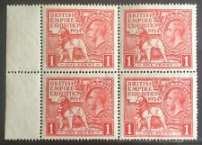 More details for gb george v 1924 british empire exhibition 1d red block x4 mint margin kgv gvi
