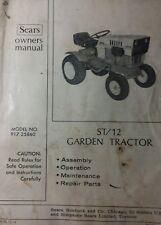 Sears Suburban ST/12 Lawn Garden Tractor Owner & Parts Manual 917.25860 HH120 SS
