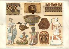 Stampa antica OGGETTI IN TERRACOTTA Vasi Statue ecc. 1890 Old antique print