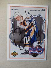 Brett Hull Autographed 1991/92 Upper Deck Heroes Hockey Card - Hall Of Famer