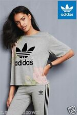 adidas Originals W Grey Pastel Rose Logo Tee Sizes ID Ao2848 (419) UK 14 EU 40 US M