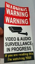 VIDEO SURVEILLANCE Security Decal  Sticker (if you are.3 pcs..) 3.75x4 in